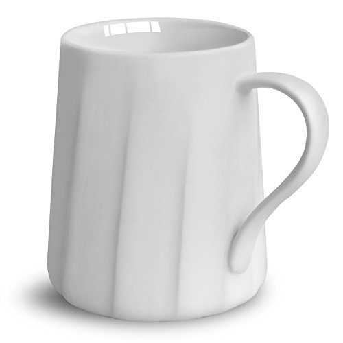 Asmwo White Cute Ceramic Mug with Funny Spiral Grain for Coffee Tea Milk Cappuccino Espresso Women and Men Coffee Maker 15 Ounce (Mug Wide Base Coffee Ceramic)
