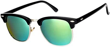 Pro Acme Classic Semi Rimless Polarized Clubmaster Sunglasses with Metal Rivets