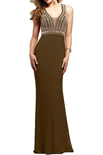 Lang Ausschnitt mit La Chiffon Damen mia Festlichkleider Sommer Braut Braun V Perlen Abendkleider Brautmutterkleider t11q7Axw