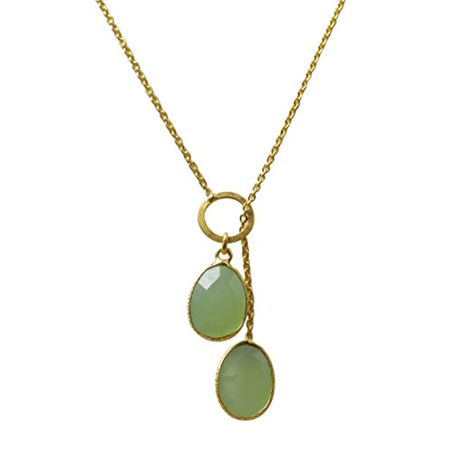 - Prehnite Color Chalcedony Gemstone Necklace, Gold Plated Chain Necklace, Handmade Jewelry For Women And Girls