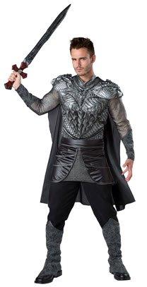 Real Dark Knight Costumes (Fun World Men's Dark Medieval Knight Costume, Silver/Black, L)