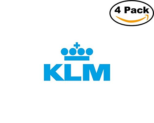 klm logo 4 Stickers 4x4 Inches Car Bumper Window Sticker Decal