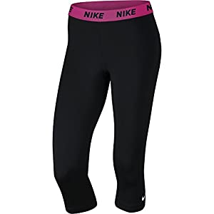 NIKE Women's Victory Training Capris, Black/Vivid Pink/White, Small