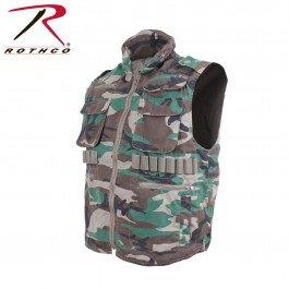 Woodland Camouflage Ranger Vest - Rothco Vintage Ranger Vest, Woodland Camo, Small