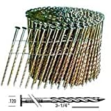BOSTITCH C12S120DG Thickcoat Round Head 3-1/4-Inch by .120-Inch by 15 Degree Wire Collated Screw Shank Coil Framing Nail, 2,700 per Box