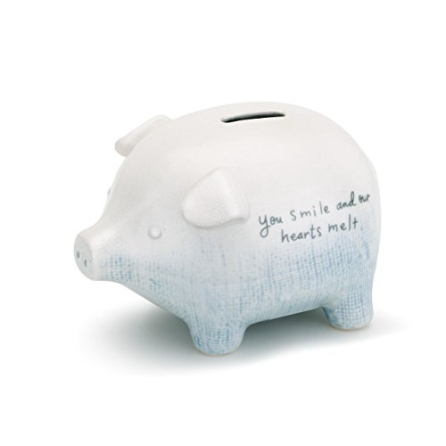 - You Smile Our Hearts Melt Sky Blue Ceramic Stoneware Children's Coin Bank
