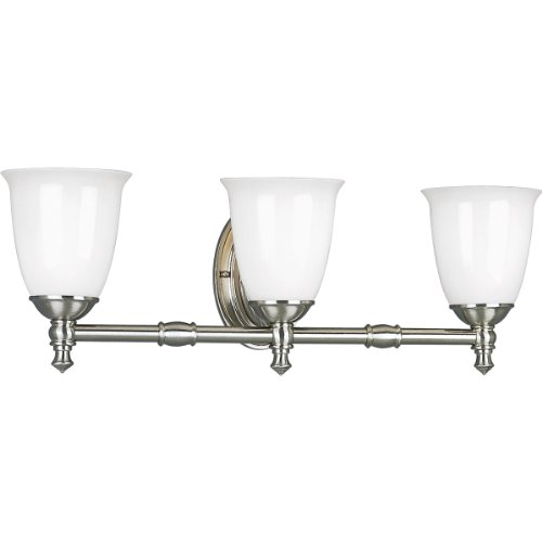 Victorian Bath Vanity - Progress Lighting P3029-09 3-Light Bath Bracket with White Opal Glass, Brushed Nickel