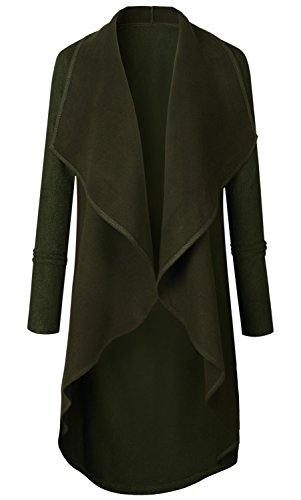 Arctic Cubic Waterfall Drape Neckline Trench Duster Duffle Coat Army Green XL