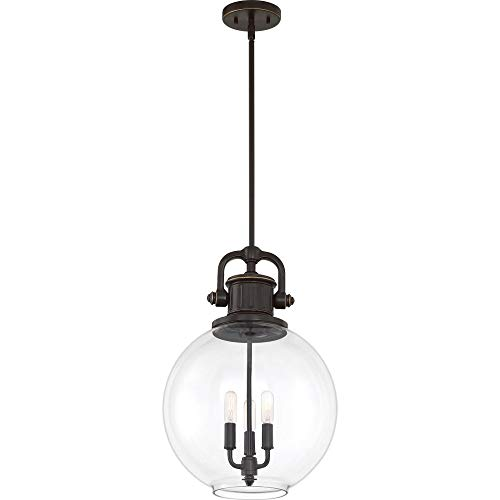 Quoizel BTO2814PN Britton Clear Glass Mini Pendant Ceiling Lighting, 3-Light, 180 Watts, Palladian Bronze (20