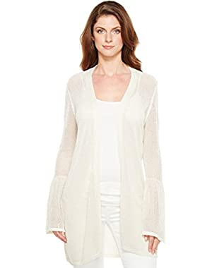 Womens Bell Sleeve Cardigan with Lurex