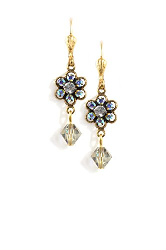 Clara Beau AB Colored Swarovski Glass Crystal Goldtone Small Flower Drop Earrings EAM143]()