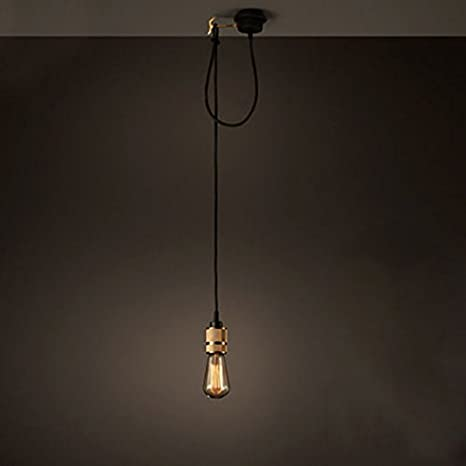 Simple hanging pendant light fixture with an Edison lamp and an industrial style
