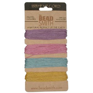 Natural-Hemp-Twine-Bead-Cord-1mm-Four-Pastel-Color-Variety-30-Feet-Each