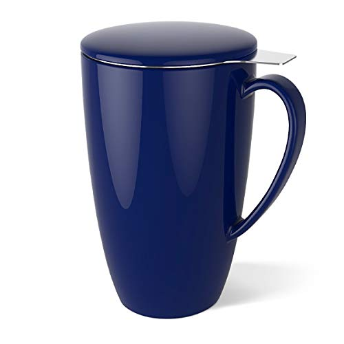 (Sweese 2104 Porcelain Tea Mug with Infuser and Lid, 15 OZ, Navy)