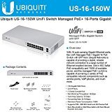 Ubiquiti US-16-150W UniFi Managed PoE+ 16-Ports Gigabit Switch with SFP, 150W