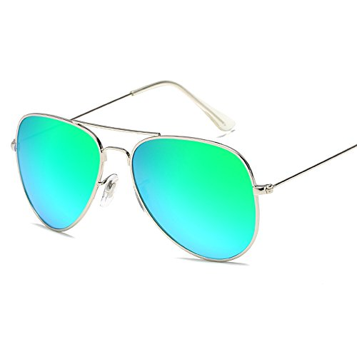 Kaimao Classic Aviator Sunglasses Reflective Mirror Lens Metal Frame Polarized Sunglasses for Men Women with Case and Cloth - Silver and - Sunglasses Dollars