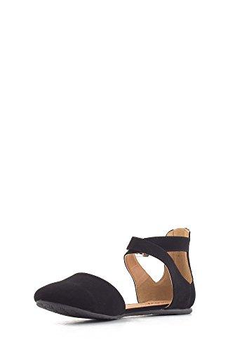 SODA Womens KINER Darling Almond Toe Criss Cross Ankle Strap Flat