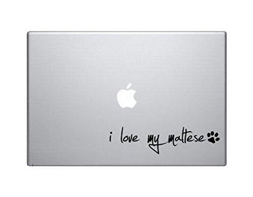 - I Love My Maltese Dog Puppy Vinyl Car Sticker Symbol Silhouette Keypad Track Pad Decal Laptop Skin Ipad Macbook Window Truck Motorcycle, Decal Sticker Vinyl Car Home Truck Window Laptop