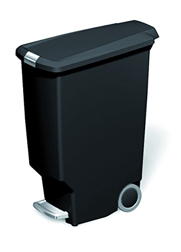simplehuman Slim Plastic Step Trash Can, Black Plastic, 40 L / 10.6 Gal