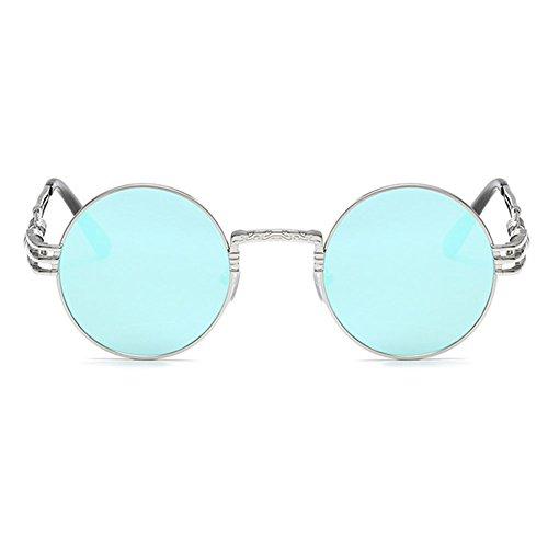 Circle Frame Metal soleil de Lunettes Femmes Retro Vintage Argent glac¨¦ Bleu hibote Hommes Round qIXa1Ix
