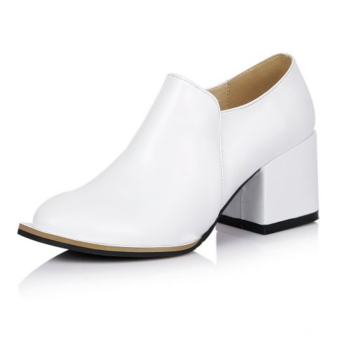VogueZone009 Womans Closed Round Toe High Heel PU Soft Material Solid Pumps with Chains, White, 3.5 UK