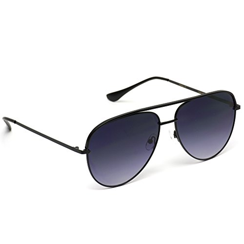 WearMe Pro - Oversized Flat Lens Fashion Designer Inspired Aviator Sunglasses Black Frame/Gradient Black Lens