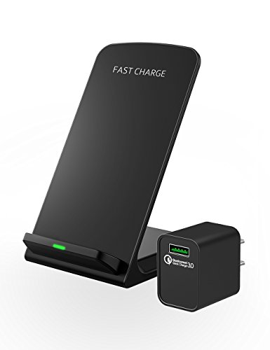 Seneo iPhone X Wireless Charger, Fast Wireless Charger Stand (Upgraded with QC 3.0 Adapter) for Samsung S9/S9 Plus Note 8/5 S8/S8 Plus S7/S7 Edge S6 Edge Plus, 5W Standard Charge for iPhone X 8 8 Plus