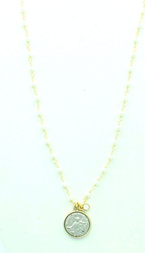 Guardian Angel Goldtone White Bead Necklace. 3/4