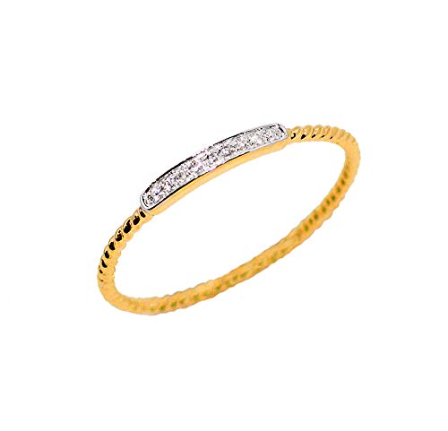 LooptyHoops 14K Yellow Gold Cubic Zirconia Stackable Rope Band Ring Size 6.5