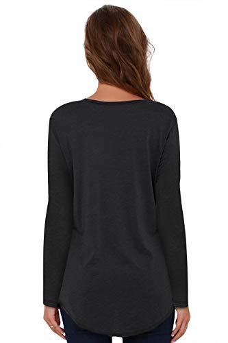 Femme Col Casual Z Courte Hauts Tee Manche Et noir Tops Shirt V JL Femme Shirt T amp;LJ wqt4Ut