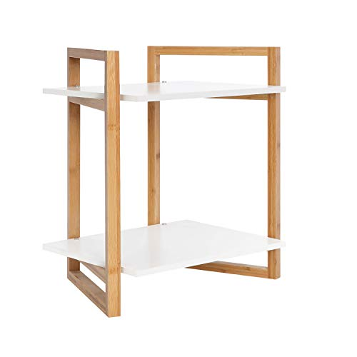 BAMFOX Bamboo Shelving Unit with 2 Tiers for Bedside Table,Side Table,Luggage Rack, Shoe Rack,Bathroom Storage Rack, Kitchen Rack,Bookcase,Flower Rack of 18.1