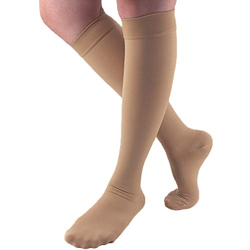 Ailaka 20-30 mmHg Knee High Closed Toe Compression Calf Socks for Women and Men, Firm Support Graduated Varicose Veins Hosiery, Travel, Nurses, Pregnancy, Recovery (Beige, Large)