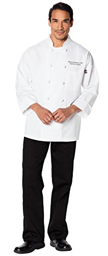 Embroidered Unisex Classic Knot Button Chef Coat (Style DC43) White Medium