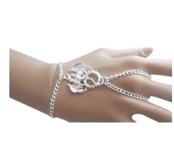 Dragon Slave Chain Hand Harness Silver Plated Bracelet ~ Goth Witch Pagan