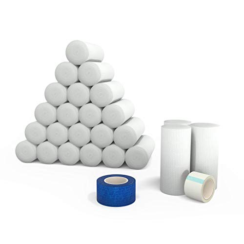 Elastic Stretch Gauze Rolls (24-Pack) 4in x 8 Yards [ 2X Longer ] + Free Bonus Items: Include Medical Tape Roll and Cohesive Tape Roll Adhesive Cleaning Sleeve Kit