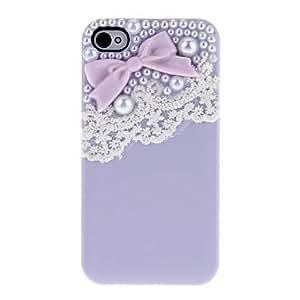 conseguir Bow con perlas y encajes preciosos Cubierta dura del caso con el pegamento para el iPhone 4/4S (colores surtidos) , Naranja