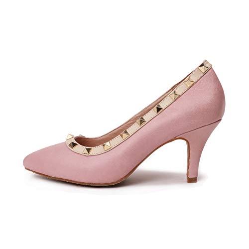 Chaussures Hauteur Fête Pied Chaussures Pointé Du Femmes Slim Talon Mode De Haut Pink Pompes Haut Talon Simples La Un 5Cm Rivet Talon Robe Confortable Petites qfnwURI