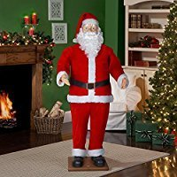 6' Life Size Animated Dancing Santa with Realistic (Animated Singing Santa)