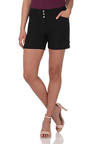 - Rekucci Women's Ease Into Comfort Stretchable Pull-On 5 inch Slimming Tab Short (8,Black Squares)
