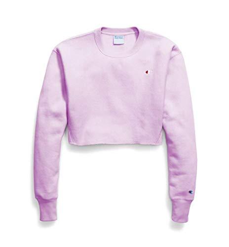 Champion Reverse Weave Cropped Cut Off Crewneck Sweatshirt (Pale Violet Rose, M)