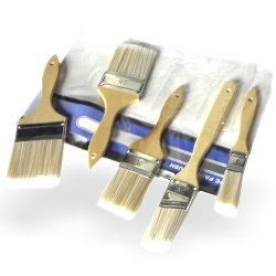 Hiltex 00308 Brush Paint Stain Varnish Set with Wood Handles, 5-Piece