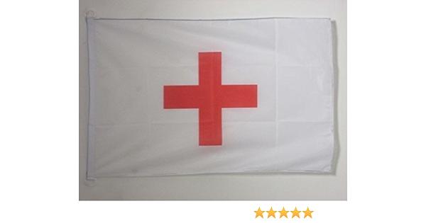 AZ FLAG Bandera Nautica de la Cruz ROJA 45x30cm - Pabellón de conveniencia HUMANITARIA 30 x 45 cm Anillos: Amazon.es: Jardín