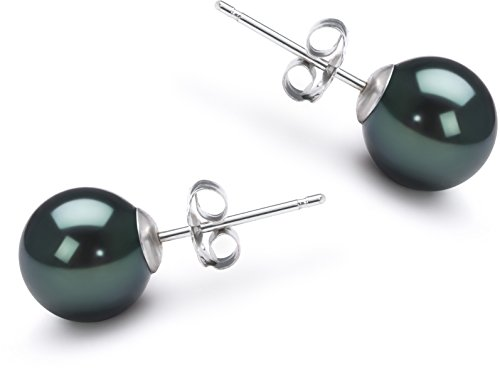PearlsOnly - Black 7-8mm AA Quality Japanese Akoya 14K White Gold Cultured Pearl Earring Pair by PearlsOnly