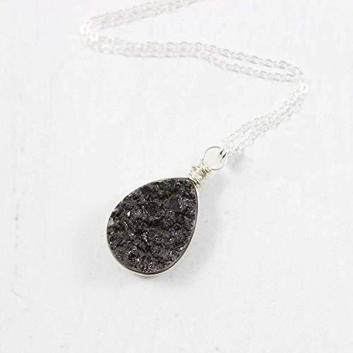 Black Druzy Geode Teardrop Sterling Silver Pendant Necklace - 18