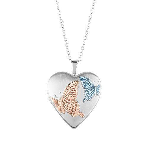 - Sterling Silver Heart Shape Fashion Butterfly Locket Pendant with Chain for Women, 20MM