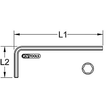 1 KS Tools 151.2649 Llave Allen acodada Basic corta tama/ño: 1