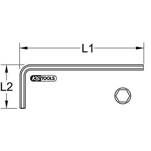 kurz KS Tools 151.2603 Innensechskant-Winkelstiftschl/üssel phosphatiert 3mm
