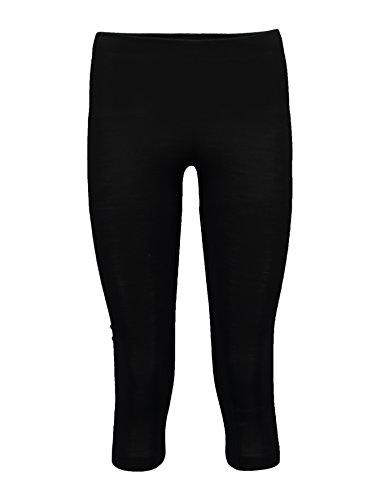 Blend New Zealand Wool - Icebreaker Merino Women's Sprite 3/4 Lightweight Blend Leggings, New Zealand Merino Wool, Black, Large