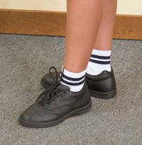 (White Quarter Socks with Navy Stripe, Size XS)
