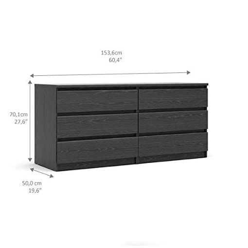 Bedroom Tvilum Scottsdale 6 Drawer Double Dresser, Black Wood Grain modern dressers